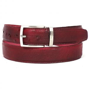 Paul Parkman Hand Painted Ostrich Quill Belt Burgundy Image