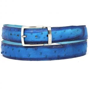 Paul Parkman Hand Painted Ostrich Quill Belt Ocean Blue Image