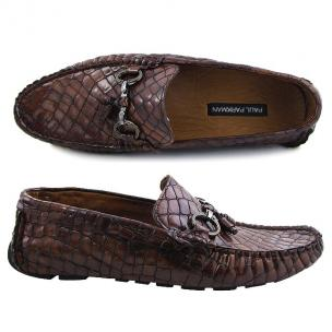 Paul Parkman Handmade Croco Driving Moccasins Brown Image