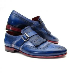 Paul Parkman Kiltie Monk Strap Shoes Blue Image