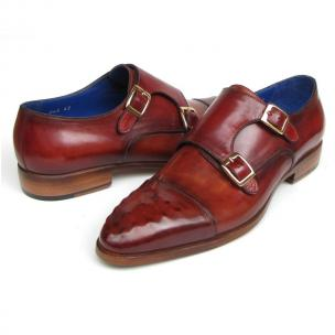 Paul Parkman Ostrich Embossed Double Monk Strap Shoes Burgundy Image