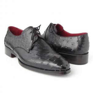 Paul Parkman Ostrich Quill Derby Shoes Black Image