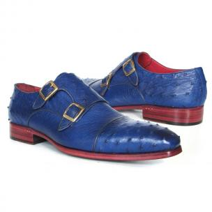 Paul Parkman Ostrich Quill Double Monk Strap Shoes Blue Image