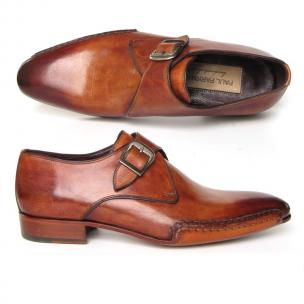 Paul Parkman Side Sewn Monk Strap Shoes Tobacco Image