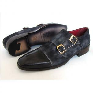 Paul Parkman Suede & Calfskin Double Monk Strap Shoes Navy Image