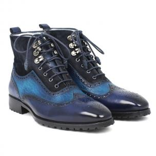 Paul Parkman Suede & Calfskin Wingtip Boots Blue Image