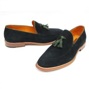 Paul Parkman Suede Tassel Loafers Black / Green Image