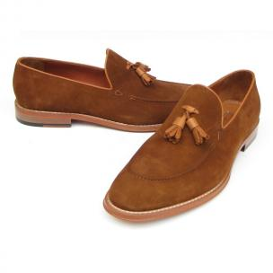 Paul Parkman Suede Tassel Loafers Tobacco Image