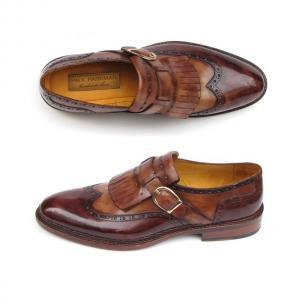 Paul Parkman Wingtip Monk Strap Shoes Brown Image