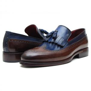 Paul Parkman Wingtip Tassel Loafers Brown/ Navy Image