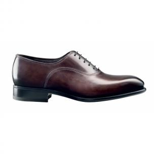 Santoni Amari Calfskin Plain Toe Bal Oxfords Dark Brown Image