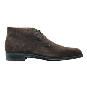 Santoni Andale OS3 Textured Suede Chukka Boots Dark Brown Image