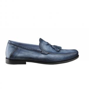Santoni Barnes D Deerskin Tassel Loafers Blue Image