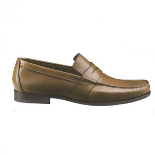 Santoni Barth Hand Antiqued Penny Loafers Tan Image