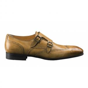 Santoni Belmont Double Monk Strap Wingtip Shoes Tan Image