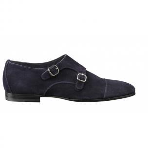 Santoni Berk S Suede Double Monk Strap Shoes Blue Image