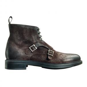 Santoni Carlton K3 Suede Double Monk Strap Boots Brown Image