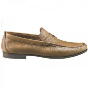 Santoni Carmel Pebble Grain Penny Loafers  Image