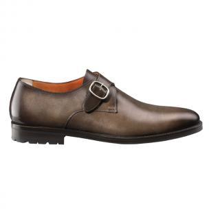 Santoni Chet OE Monk Strap Shoes Dark Brown Image