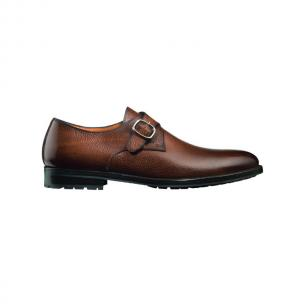 Santoni Chet SL4 Pebble Grain Monk Strap Shoes Rust Image