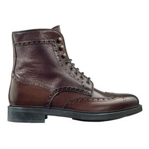 Santoni Coleman F2 Wingtip Brogue Boots Brown Image