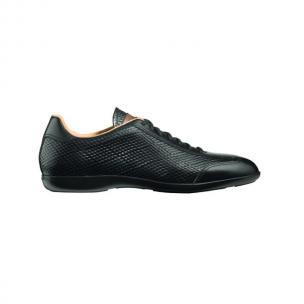 Santoni Cortez N1 Textured Calfskin Sneakers Black Image