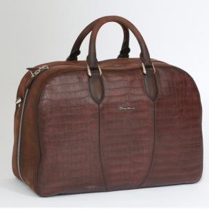 Santoni Croc Embossed Travel Duffle Bag Image
