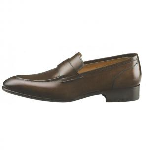 Santoni Dempsey Apron Toe Penny Loafers Brown Image