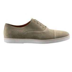 Santoni Durbin S5 Suede Cap Toe Sneakers Taupe Image