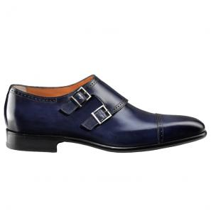 Santoni Edmond 6 Double Monk Strap Shoes Blue Image