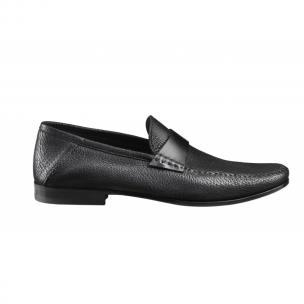 Santoni Paine AN Deerskin Strap Loafers Black Image