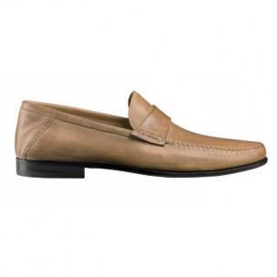 Santoni Paine L5 Lambskin Strap Loafers Tan Image