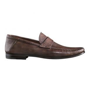 Santoni Paine L5 Lambskin Strap Loafers Dark Brown Image