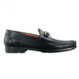 Santoni Sam A1 Calfskin Side Buckle Loafers Black Image