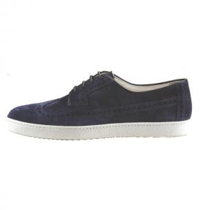 Santoni Sole D6 Suede Wingtip Sneakers Blue Image