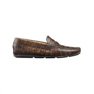 Santoni Tanton A2 Croco Driving Loafers Brown Image