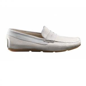 Santoni Tanton E9 Perforated Driving Shoes White Image