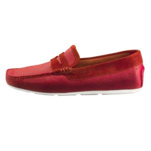 Santoni Tanton E7 Perforated Driving Loafers Red Image