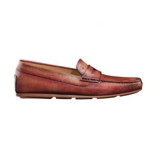 Santoni Tanton Hand Antiqued Driving Shoes Red Image