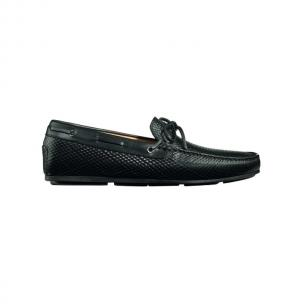 Santoni Toft BR1 Textured Calfskin Twist Tie Driving Loafers Black Image