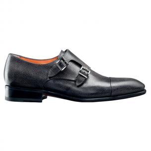 Santoni Truman SP Grain Leather Double Monk Strap Shoes Smoke Image