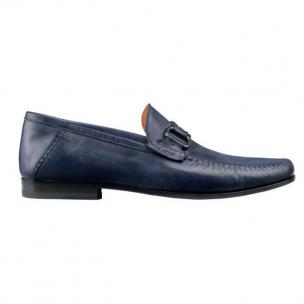 Santoni Varick L Lambskin Bit Loafers Blue Image