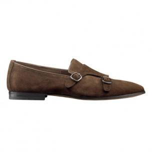 Santoni Witton S2 Suede Double Monk Strap Shoes Brown Image