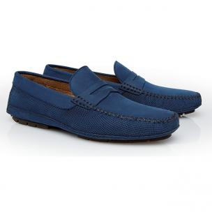 Stemar Lipari Perforated Nubuck Driving Loafers Blue Image