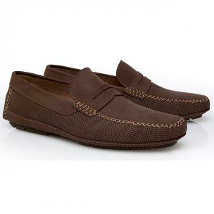 Stemar Lipari Perforated Nubuck Driving Loafers Chocolate Brown Image