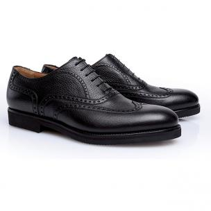 Stemar Merano Grained Calfskin Wingtip Shoes Black Image