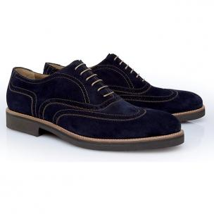Stemar Merano Suede Wingtip Shoes Blue Image