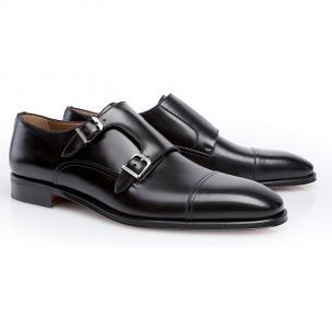 Stemar Calfskin Double Monk Strap Dress Shoes Black Image