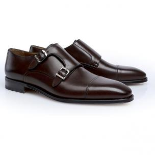 Stemar Double Monk Strap Dress Shoes Dark Brown Image
