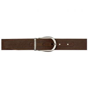 Stemar Panarea Perforated Nubuck Belt Chocolate Brown Image